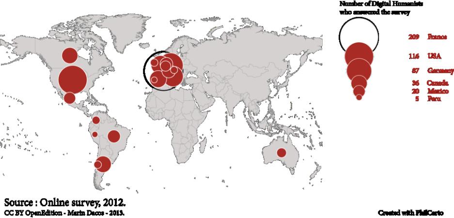 Mapa 1: Repartición de lugares de residencia de las personas que respondieron a la encuesta. (Países que aportaron más de 4 respuestas).