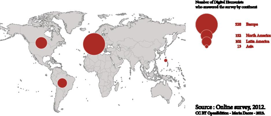 Mapa 2: Repartición por continente de los lugares de residencia de las personas que respondieron a la encuesta. (Países que aportaron más de 4 respuestas).